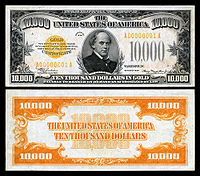 $10,000 Gold Certificate, Series 1934, Fr.2412, depicting Salmon P. Chase