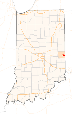 Richmond, Indiana explosion - Location of Richmond in the state of Indiana