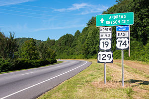 U.S. Route 19 in North Carolina - US 19/US 74/US 129 (Appalachian Highway), in Murphy