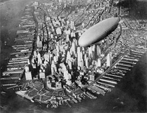 Aviation between the World Wars - USS Akron over Lower Manhattan circa 1932