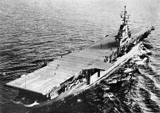 USS Ticonderoga (CV-14) - Ticonderoga following her SCB-27C conversion, circa 1954.