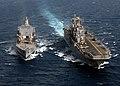 US Navy 030407-N-2515C-005 USS Tarawa (LHA 1) receives fuel during an underway replenishment (UNREP) with Military Sealift Command Oiler USNS Yukon (T-AO 202).jpg