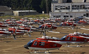 Advanced Helicopter Training - The flight line of Millington Regional Airport in 2004, the parked TH-57 Sea Rangers were evacuated from NAS Whiting Field to avoid Hurricane Ivan.