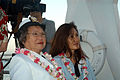 US Navy 041207-N-6775N-028 Ms. Marietta Eng USNR (Ret.), left, and retired Marine Corps Capt. Jonug Lee, enjoy the sites on board the USS Arizona Memorial prior to the start of the Pearl Harbor Remembrance Ceremony.jpg