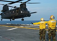 US Navy 050808-N-3666S-048 A U.S. Army MH-47 Chinook, assigned to the 160th Special Operations Aviation Regiment, departs from the flight deck aboard the amphibious assault ship USS Wasp (LHD 1)