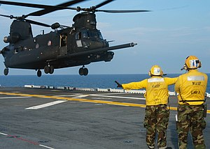 USS Wasp (LHD-1) - MH-47 Chinook takes off from Wasp