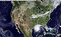 US Navy 050923-N-0000X-003 GOES-12 Satellite composite image provided by the U.S. Naval Research Laboratory, Monterey, Calif., showing the status of Hurricane Rita at 1-00 am EST.jpg