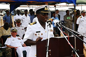 Chief of the Defence Staff (Ghana) - Image: US Navy 071120 N 8933S 096 Ghanaian navy Rear Adm. Matthew Quashie, commodore, Eastern Ghana Naval Command, speaks at the Africa Partnership Station (APS)