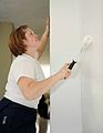 US Navy 090416-F-7522G-006 Aerographer's Mate Gina Hegg, embarked aboard the Military Sealift Command hospital ship USNS Comfort (T-AH 20) paints the wall of a pediatric medical facility at Emmanuel Christian School.jpg
