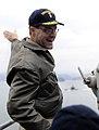 US Navy 100312-N-7280V-173 Vice Adm. John M. Bird, commander of U.S. 7th Fleet, waves at a Republic of Korea submarine as U.S. 7th Fleet command ship USS Blue Ridge (LCC 19) pulls into Chinhae Naval Base.jpg