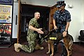 US Navy 100820-N-9818V-122 Master Chief Petty Officer of the Navy (MCPON) Rick West meets Master-at-Arms 2nd Class Shannon Golden, assigned to the security department of Naval Base Guam.jpg