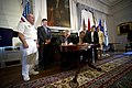 US Navy 110526-N-UH963-205 Secretary of the Navy (SECNAV) the Honorable Ray Mabus and Richard Levin sign a Memorandum of Understanding that re-esta.jpg
