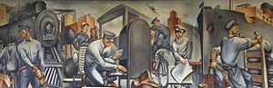 "United States post office murals - ""Mail Transportation"" (1938) by Fletcher Martin, in the San Pedro, California, post office"