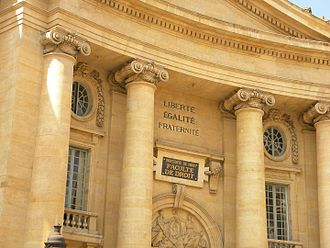 Panthéon-Assas University - Pediment of the Paris Law Faculty.