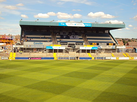 The Memorial Stadium, home of Bristol Rovers Uplands StandBRFC.JPG