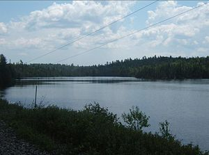 Upper Redwater Lake - Upper Redwater Lake as seen from along the Ontario Northland Railway where the railroad crosses its northern end.
