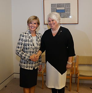 Australia–Estonia relations - Australian Foreign Minister Julie Bishop (at left) meeting with Estonian Foreign Minister Marina Kaljurand during Kaljurand's visit to Australia in February 2016