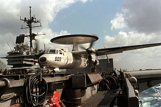 VAW-125 - VAW-125 E-2C prepares to launch from USS Saratoga in 1986