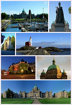 Clockwise from top left: The Inner Victoria Harbour, Statue of Queen Victoria, the Fisgard Lighthouse, Neo-Baroque architecture of the British Columbia Parliament Buildings, The British Columbia Parliament Buildings, The Empress Hotel, and The Christ Church Cathedral.
