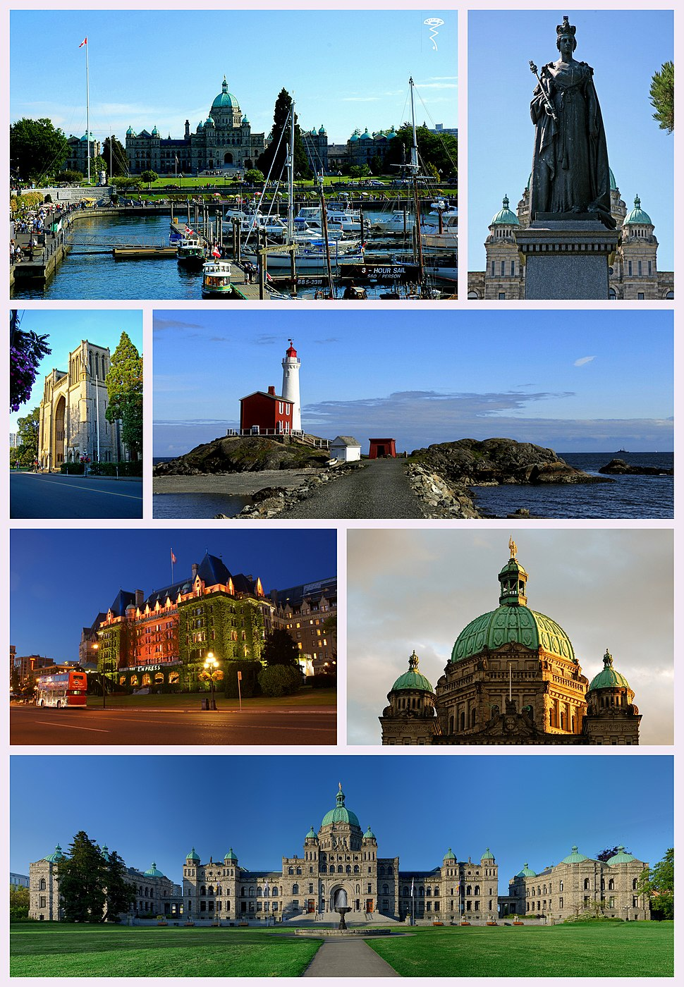 Clockwise from top left: the Inner Victoria Harbour, Statue of Queen Victoria, Fisgard Lighthouse, dome of the British Columbia Parliament Buildings, full view of Parliament, the Empress Hotel, and Christ Church Cathedral.
