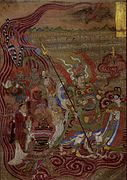 Vaishravana riding across the waters, Cave 17, Mogao Caves, Dunhuang