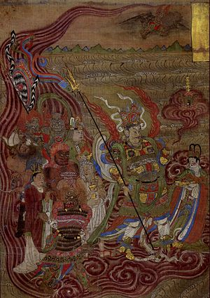 Five Dynasties and Ten Kingdoms period - Vaishravana riding across the waters, Dunhuang, Mogao Caves, Cave 17, 10th century, Five Dyasties era, British Museum