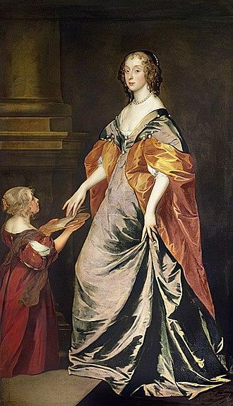 Richard Gibson (painter) - Gibson's wife Anne Shepherd, seen on the left serving Mary Stewart, Duchess of Richmond in a portrait by Van Dyck