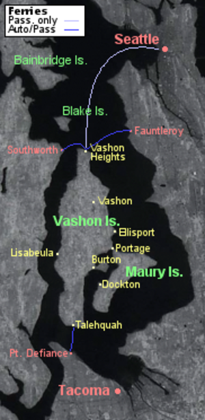 Maury Island - Detailed map of Vashon-Maury Island, Washington