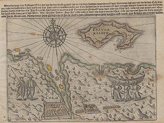 Kola Bay - 1598 map of Kola Bay, from Gerrit de Veer's diary of Willem Barentsz' explorations.