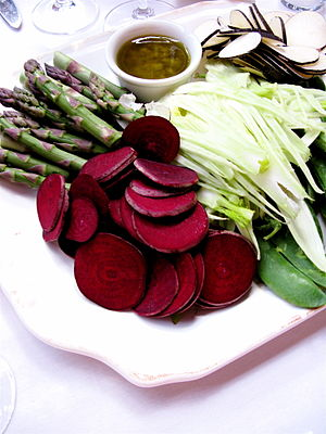 Beets and asparagus on a plate.