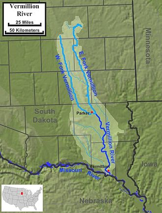 Vermillion River (South Dakota) - The course and watershed of the Vermillion River