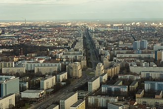 Friedrichshain - Karl-Marx-Allee, the broad boulevard that bisects Friedrichshain, seen from TV tower