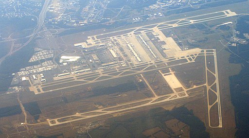 View of IAD from airplane a