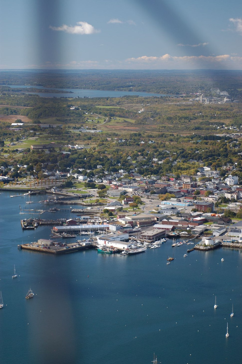 View of Rockland, Maine from a plane