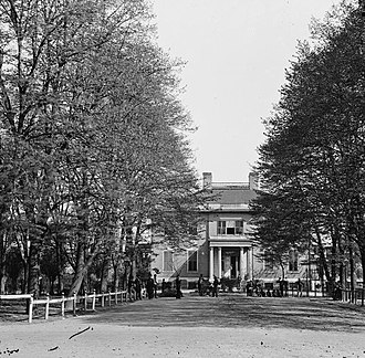 Governor of Virginia - Executive Mansion of Virginia (Governor's Mansion) in Richmond, (adjacent to the  Virginia State Capitol, also the second capitol of the southern Confederacy), at the end of the American Civil War, 1865
