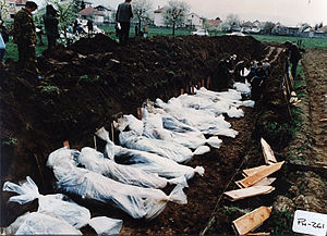 Croat–Bosniak War - Bodies of people killed in April 1993 around Vitez.