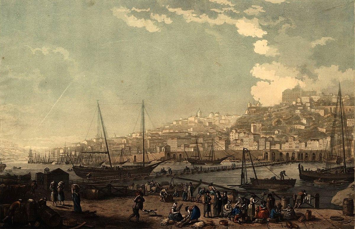 Vue de la ville et du port de Porto 1817 Henry L'Eveque.jpg