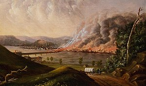 Great Fire of Pittsburgh - Detail from View of the Great Fire of Pittsburgh, 1846, a painting by witness William Coventry Wall