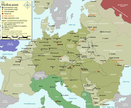 Major deportation routes to the extermination camps in Europe. WW2-Holocaust-Europe.png