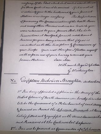 USS Hannah - Letter from General George Washington commissioning Nicholson Broughton to command a legal privateering mission against British forces