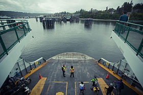 Washington State Ferry landing on Bainbridge Island.