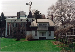 Perkins Stone Mansion - This view of the Perkins Stone Mansion shows the Wash House, one of the outbuildings on the property.
