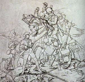 Battle of Waxhaws - Image: Waxhaw massacre sketch