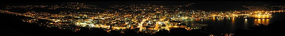 Wellington City by night, panorama