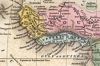 Mountains of Kong - The Mountains of Kong on a West African Map from 1839.