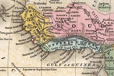 "Map of West Africa (1839); Biafra is shown in the region of ""Lower Guinea"" West Africa 1839 Mitchell map - Kong.jpg"