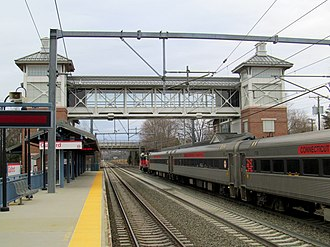 Guilford station - Westbound Shore Line East train at Guilford in 2015