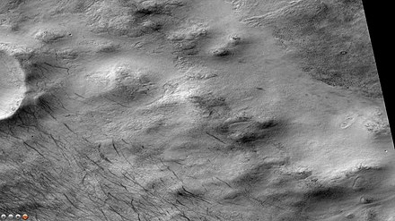 Dust devil tracks, as seen by CTX camera (on Mars Reconnaissance Orbiter). Note: this is an enlargement of the previous image of Campbell Crater. Wikicampbelldevilssw.jpg