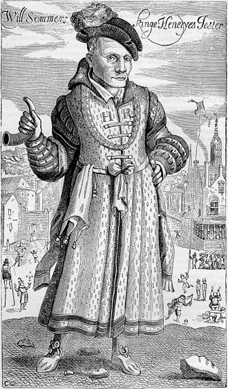 Jester - 17th-century engraving of Will Sommers, Henry VIII's jester