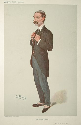 """William Robson, Baron Robson - """"The Solicitor General"""" Robson as caricatured by Spy (Leslie Ward) in Vanity Fair, January 1906"""